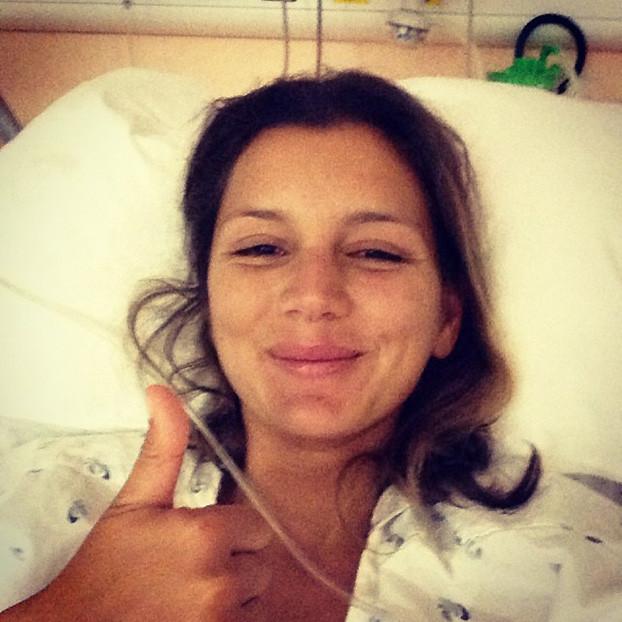 Maya Gabeira, Hospital de Leiria, Portugal. Foto: Arquivo pessoal.